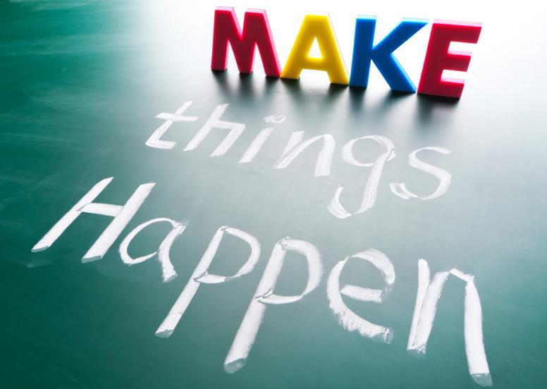Make things happen, concept words draw on blackboard.