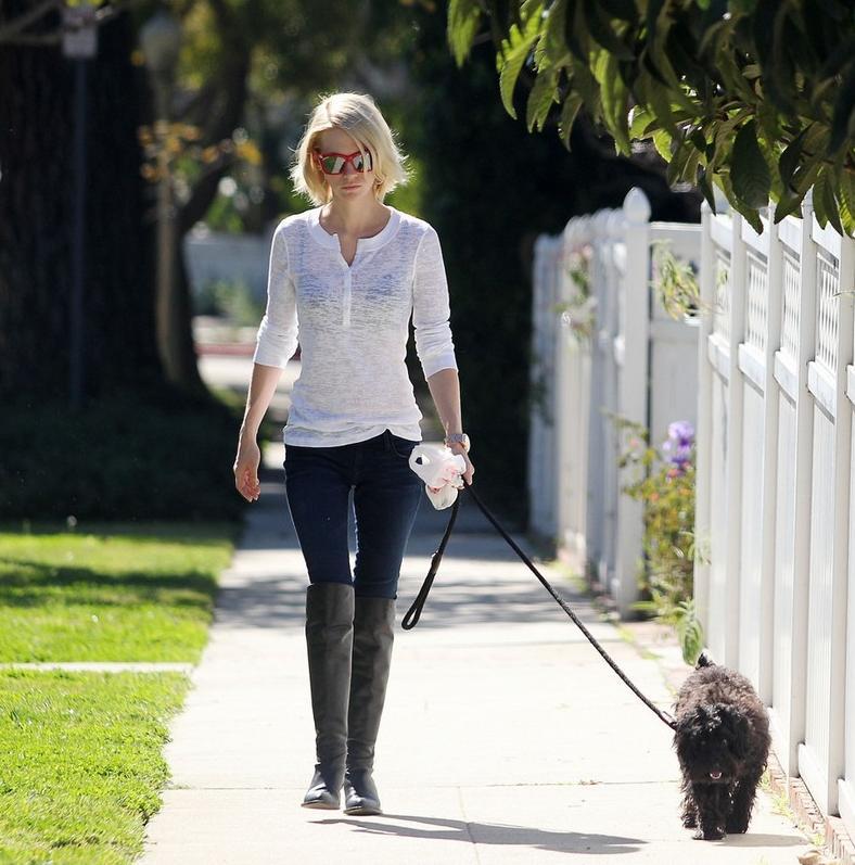 January Jones, wearing a sheer top and black bra, takes her dog for a walk around her neighborhood