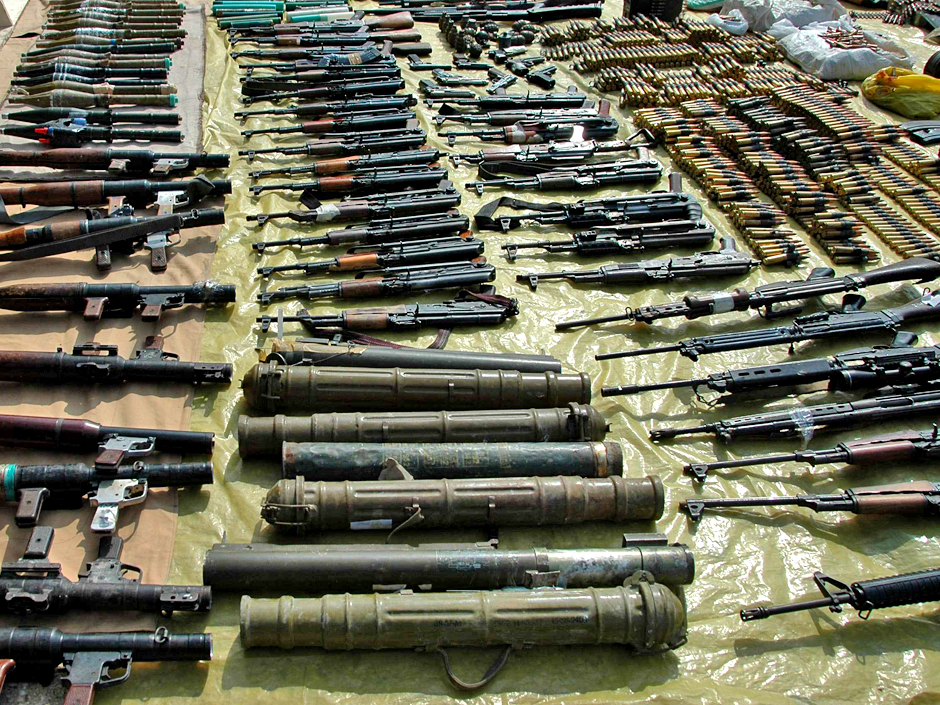 A handout photograph released by Syria's national news agency SANA on March 7, 2012, shows weapons found by Syrian security in Homs