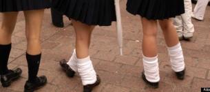 Japanese schoolgirls in short skirts in Shibuya Tokyo